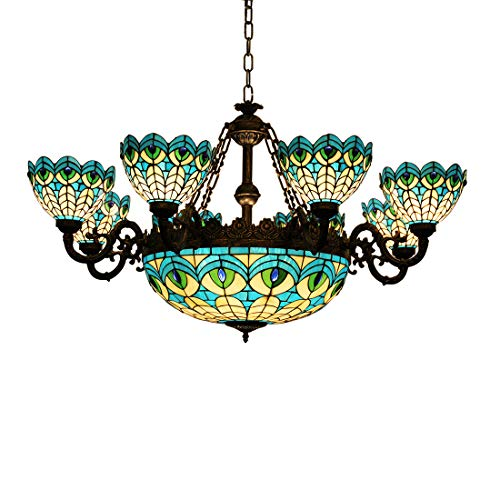 Makenier Vintage Tiffany Style Stained Glass 8 Arms Peacock Feathers Big Chandelier with 20 Inches Inverted Ceiling Pendant Light