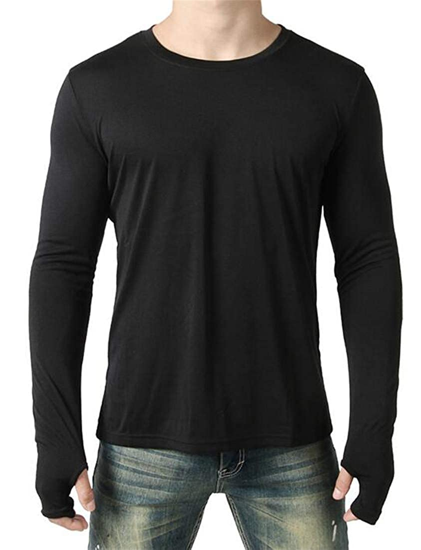 Domple Mens Long Sleeve Thumb Hole Round Neck Irregular Solid Color T Shirts Tee