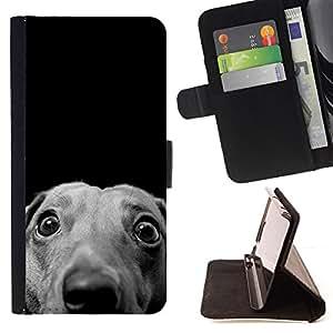 KingStore / Leather Etui en cuir / Samsung Galaxy S3 MINI 8190 / Whippet del galgo italiano del perro de caza