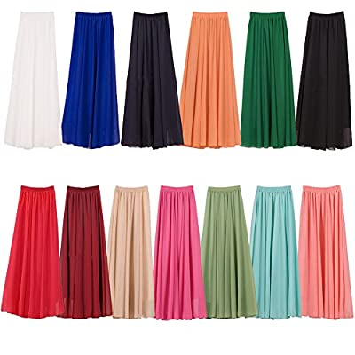 Women Elastic Pleated Vintage Retro Maxi Chiffon Long Skater Flare Skirt Beach High Waist Shirring A-Line Dress