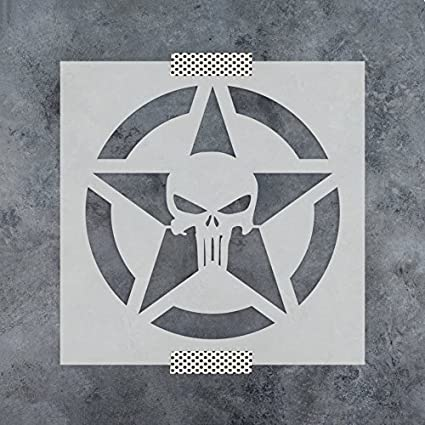amazon com punisher skull star stencil template for walls and