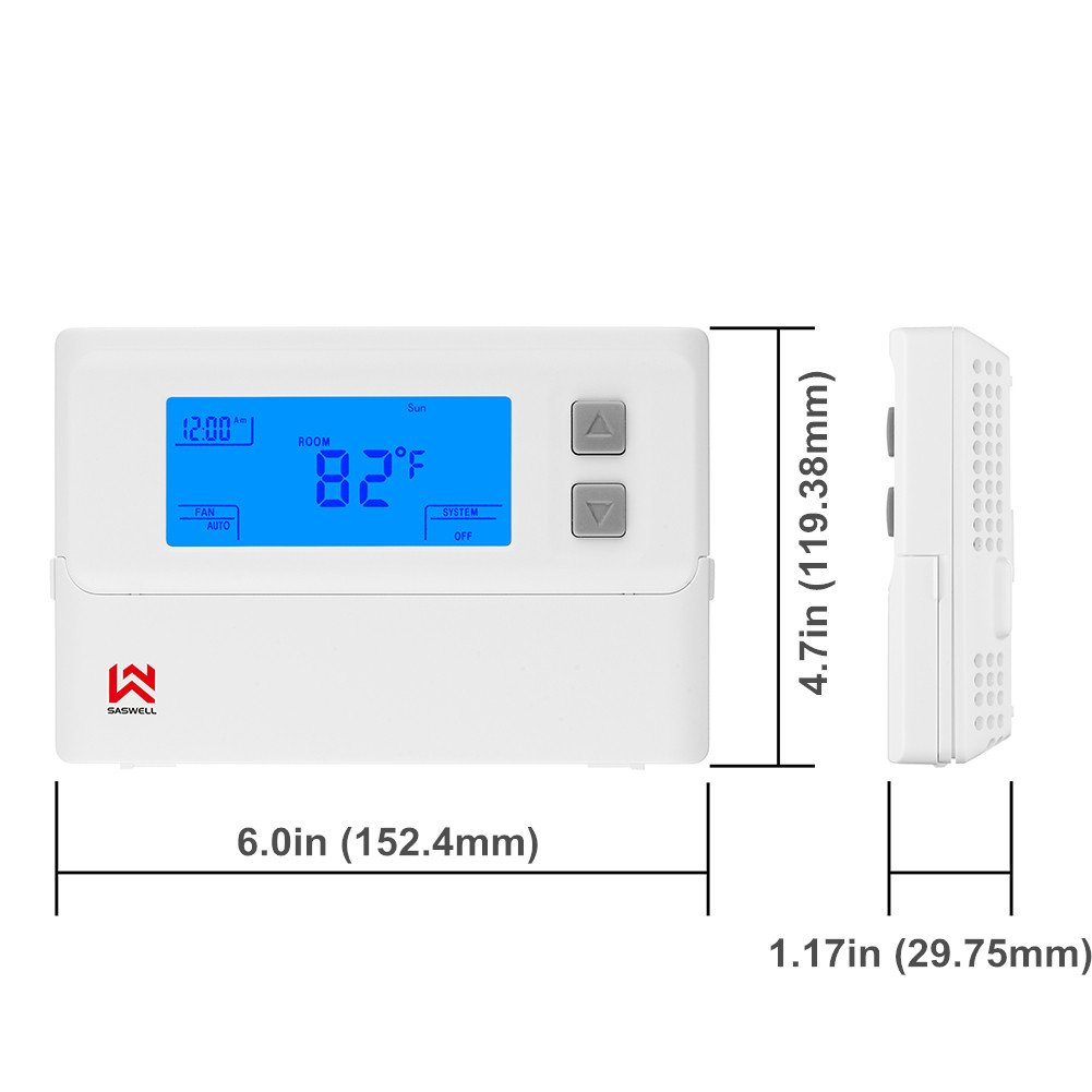 Non-programmable Single Stage Thermostat For Room,24 Volt Or Millivolt System,1H/1C,Heat Pump Thermostat,Saswell T21STK-0 by Saswell (Image #3)