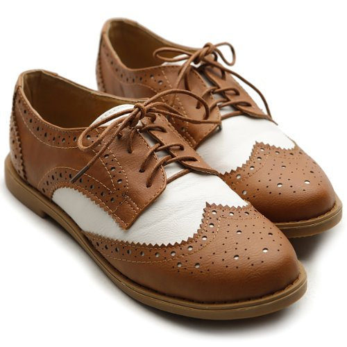 Ollio Women's Flat Shoe Wingtip Lace Up Two Tone Oxford(7.5 B(M) US, Brown)