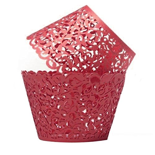 NAOAO Cupcake Wrappers Liners Filigree Vine Paper Cake Holders Artistic Bake Baking Muffin Case Cupcake Wraps Elegant Vine Lace for Wedding Party Birthday Decoration, 50 PCS(Red) ()