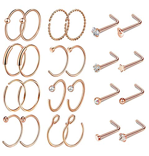 Masedy 24Pcs 20G 316L Stainless Steel Hoop Nose Rings Studs Tragus Cartilage Helix Ring Lip Piercing Rose Gold 8MM