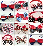 PET SHOW 150pcs Handmade Small Dogs Cats Patriotic Bow Ties 10 Styles Assorted Bowties Pet Grooming Accessories