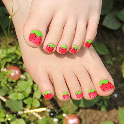 24pcs Summer Strawberry False Toe Nail Foot Patch Toenails for Women or Children (Halloween Nail Designs Toes)