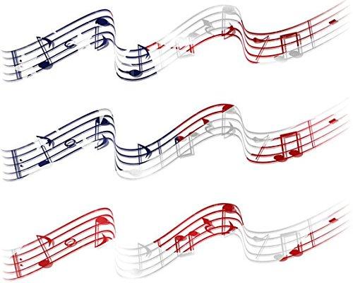 Patriotic Musical Notes Band Birthdays - Cake Side Designer Strip - Edible Cake/Cupcake Party Topper