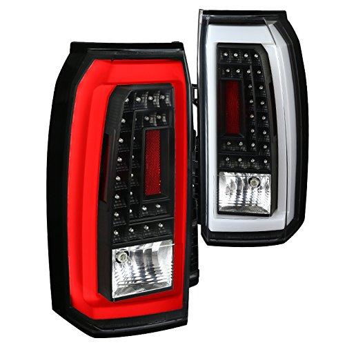 Yukon Led Lights Tail Lamps (Black GMC Yukon XL LED Tail Lights Rear Brake Lamps w/LED Running Tube Pair)