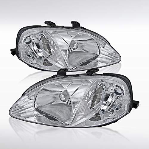 Autozensation For Honda Civic 2/3/4DR Clear Chrome Crystal Headlights RH - Honda Civic 4dr Crystal