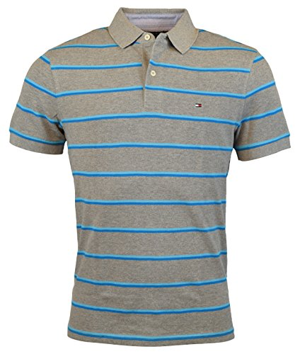 Tommy Hilfiger Mens Custom Fit Striped Cotton Polo Shirt - S - Gray/Blue - Tommy Hilfiger Polo Rugby