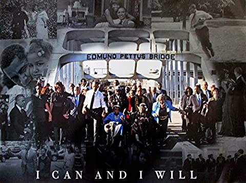 Selma March Poster I Can And I Will 50th Anniversary Print African American Black History (18x24) - Black History Collage