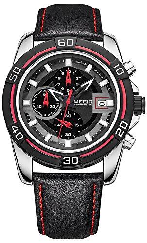 [MEGIR Men's Watch Genuine Leather Band Chronograph Waterproof Calendar Date Sport Quartz Wristwatch (Black)] (Leather Genuine Chronograph)