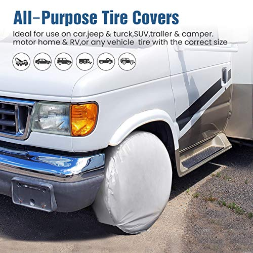 ELUTO Tire Covers for RV Wheel Covers Set of 4 Waterproof UV Sun Tough Tire Wheel Protector Vinyl Tire Cover for RV Trailer Camper Motorhome Truck Jeep SUV 29-31.9 Diameter
