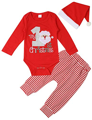 Newborn Baby Girl Clothes My 1st Christmas Jumpsuit Stripe Pants with Hat for Baby Boy Clothes 3-6 Months (First Christmas Baby Hat)