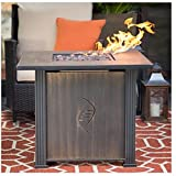 Best Top Selling Propane Gas Fire Pit Table With Cover Lid Patio Deck Porch Pool Outdoor Heater- Beautiful UV Resistant Finish- Powerful Heating 50,000 BTU Contemporary Lovely Beautiful