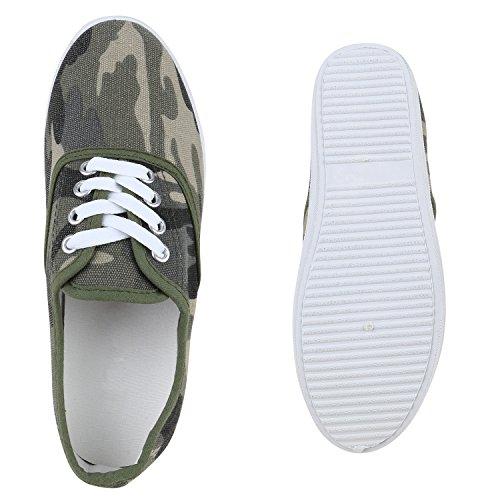 Dunkelgrün Low Stiefelparadies Basic Unisex Sneaker Damen Camouflage Flandell Herren 8rI8q1U