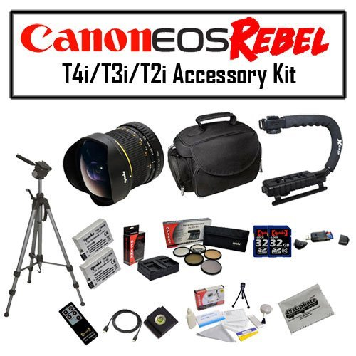 Deluxe Accessory Kit for Canon EOS Rebel T2i T3i T4i T5i 550D 600D 650D 700D Kiss X4 X5 X6 X6i X7i DSLR Digital Camera with Opteka 6.5mm f/3.5 Fisheye Lens, Two (2) Pack of Opteka LP-E8 LPE8 Extended Battery Pack, Two (2) Pack of 32GB SDHC High Speed Memo by 47th Street Photo