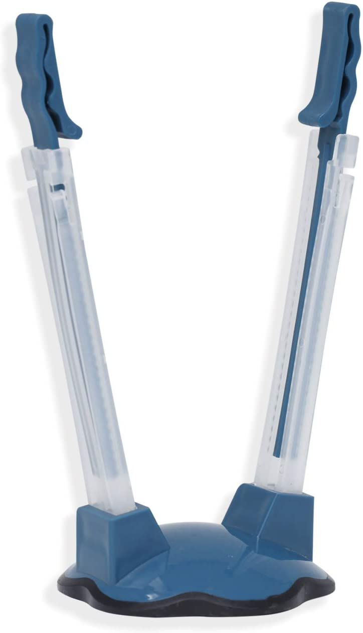 EXULTIMATE Baggie Hands-Free Rack Stand Secures Foods and Liquids for Smooth Clean Pouring, Blue