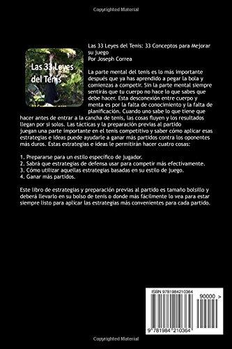 Las 33 Leyes del Tenis: 33 Conceptos para Mejorar su juego (Spanish Edition): Joseph Correa: 9781984210364: Amazon.com: Books