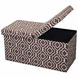 Otto & Ben 30'' Storage Ottoman - Folding Toy Box Chest with SMART LIFT Top, Mid Century Upholstered Ottomans Bench Foot Rest, Moroccan Brown