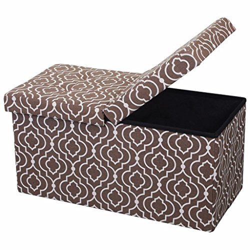 Otto & Ben 30'' Storage Ottoman - Folding Toy Box Chest with SMART LIFT Top, Mid Century Upholstered Ottomans Bench Foot Rest, Moroccan Brown by Otto & Ben