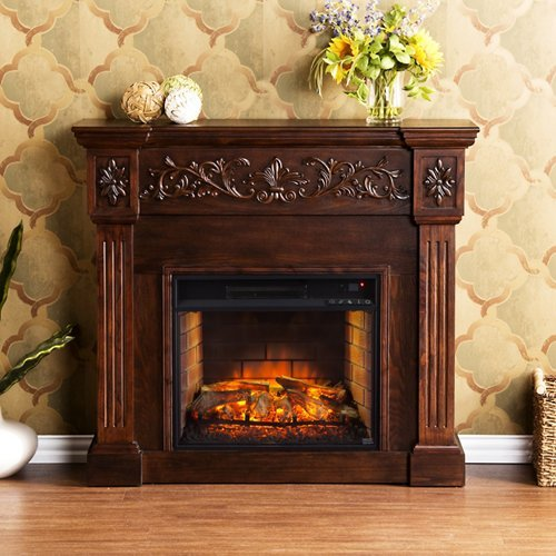 Southern Enterprises Calvert Carved Electric Fireplace in -