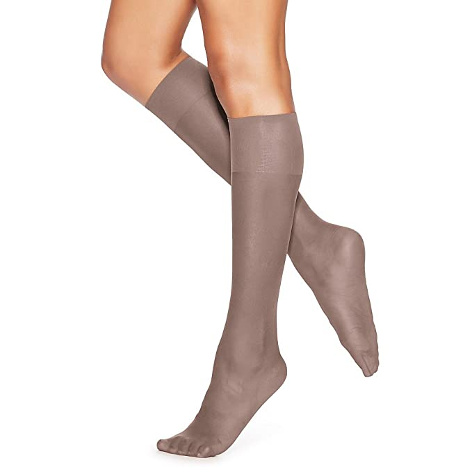 2d1be91c7 Image Unavailable. Image not available for. Color  Hanes Silk Reflections  Silky Sheer Knee Highs 2-Pack Soft Taupe One Size