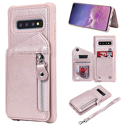 - Galaxy S10 Plus Case, Futanwei Four Corner Thickening Zipper Double Buckle Folio Flip Leather Wallet Protective Case with Clasp Wrist Strap/Card Slots/Kickstand for Samsung Galaxy S10 Plus, Rose Gold