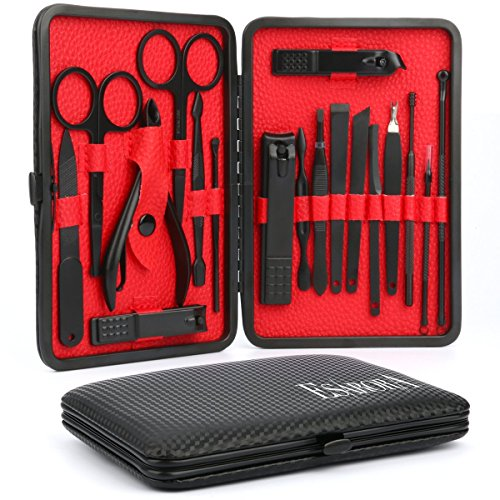 Manicure Set, ESARORA 18 In 1 Stainless Steel Professional Pedicure Kit Nail Scissors Grooming Kit with Black Leather Travel Case by Esarora (Image #1)