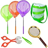 HomDSim Telescopic Butterfly Net Kit,Foldable Portable Habitat Mesh Cage,Magnifying Glass,Catcher Tweezers,for Catching Bugs Insect Fishing,Extendable up to 34'' for Kids Patio Outdoor Travel