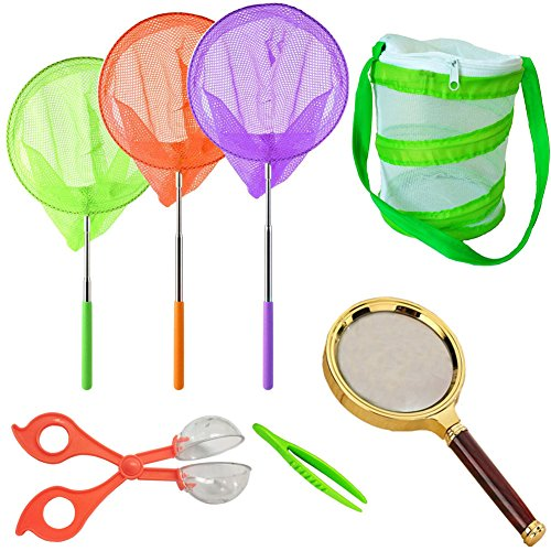 (HomDSim Telescopic Butterfly Net Kit,Foldable Portable Habitat Mesh Cage,Magnifying Glass,Catcher Tweezers,for Catching Bugs Insect Fishing,Extendable up to 34'' for Kids Patio Outdoor Travel)