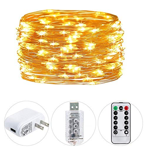 HSicily Fairy Lights Plug in, USB Christmas Lights 8 Modest 100 LED 33ft String Lights with Remote Control Timer for Wedding Party Bedroom Indoor Outdoor Decorations -