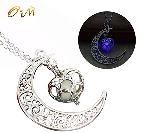 Onairmall Luminous Series Moon Love Heart Pendant Necklace Fluorescent Necklace,Glow in the Dark (Purple)
