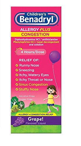 Benadryl-D Children's Allergy & Sinus Liquid Grape Flavored 4 OZ - Buy Packs and SAVE (Pack of