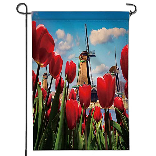 AmaPark Garden Flag The Famous Dutch Windmills View Through red Tulips on The Netherlands canals Creative Collage House Flag Decoration Double Sided Flag 12