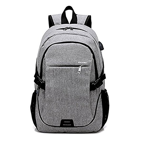 3abba6c408e ACEDICHY Laptop Backpack,Business Waterproof Laptop Notebook Backpack with  USB Charging Port, College School Travel Bag for Men Women (Grey)   Amazon.co.uk  ...