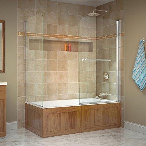 Swing Aqua (DreamLine Aqua Swing 56-60 in. W x 30 in. D x 58 in. H Frameless Tub Door with Return Panel in Chrome, SHDR-3734580-RT-01)