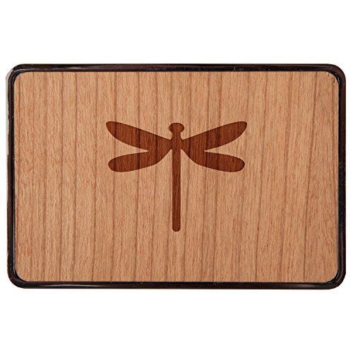 Wood Dragon Belt - Dragonfly Stainless Steel Belt Buckle With Cherry Wood Veneer- Laser Engraved Wood Belt Buckle - Big Belt Buckle