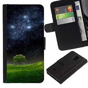 KLONGSHOP / Tirón de la caja Cartera de cuero con ranuras para tarjetas - Starry Night Meadow Tree Nature Mystic - Samsung Galaxy S5 Mini, SM-G800, NOT S5 REGULAR!