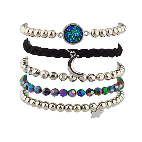 [Lux Accessories Prism Crescent Moon Celestial Star Beaded Arm Candy Bracelet Set] (Arm Candy Costume)