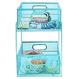 Mind Reader Sliding Metal Baskets, Cabinet Storage Organizer, Home, Office, Kitchen, Bathroom, One Size, Blue 2 Tier Mesh