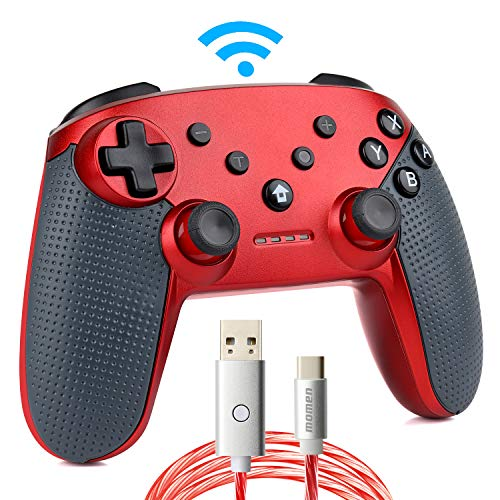 Switch Pro Controller,Wireless Switch Controller for Nintendo Console,with LED Type C Charging Cable(Red)