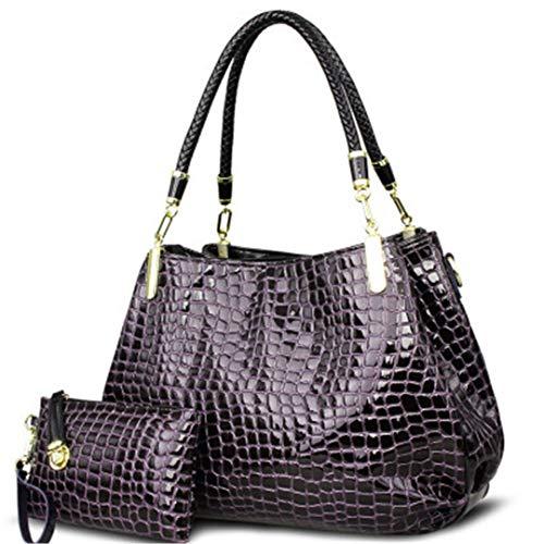 Femmes Purple bandoulière Crocodile à Sac grande Totes capacité à Borse Sacs main Lady portefeuille main à sac aYzq5n5