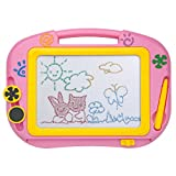 ikidsislands IKS88P [Travel Size] Small Colorful Magnetic Drawing Board for Kids/ Mini Color Magna Doodle for Toddlers/ Erasable Imaginarium Educational Toys for Babies, Girls with Pen, Stamps (Pink)