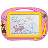 ikidsislands IKS88P [Travel Size] Color Magnetic Drawing Board for Kids & Toddlers - Non Toxic Mini Magna Sketch Doodle Educational Toy for Girls, with 1 Pen & 2 Stamps (Pink)