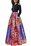 Women Sexy Off Shoulder Long Sleeve Africa Floral Print Maxi Skirt 2 Piece Dress
