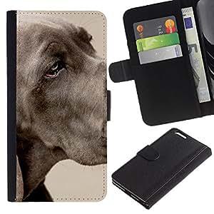 EJOY---La carpeta del tirón la caja de cuero de alta calidad de la PU Caso protector / Apple Iphone 6 PLUS 5.5 / --Gran danés Gran Grey Dog Pet