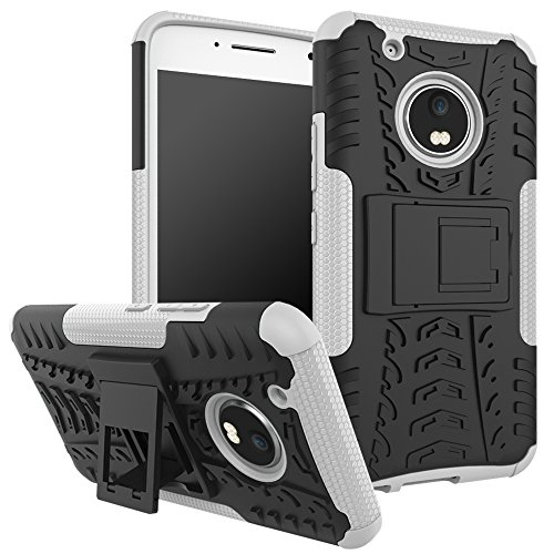 Parallel Universe Moto G5 Plus Dual Layer Rugged And Tough Defender Back Cover Case With Built-In Stand - White