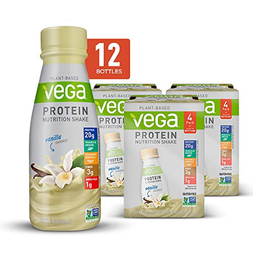 Vega Protein Nutrition Shake Vanilla 11 Fluid Ounce (Pack of 12) - Ready to Drink, Plant Based Vegan Protein, Gluten Free, Dairy Free, Soy Free, Vegetarian, Vitamins, Non GMO (Best Non Dairy Protein Supplement)